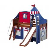 Wow Low Loft by Maxtrix Kids: Chestnut, Curved, Twin, Slide, 44-Blue / Red / Gray