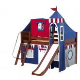 Wow Low Loft by Maxtrix Kids: Chestnut, Panel, Twin, Slide, 44-Blue / Red / Gray