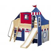Wow Low Loft by Maxtrix Kids: Natural, Curved, Twin, Slide, 44-Blue / Red / Gray