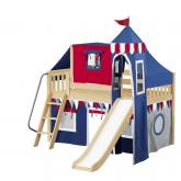 Wow Low Loft by Maxtrix Kids: Natural, Slats, Twin, Slide, 44-Blue / Red / Gray