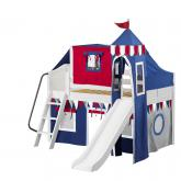 Wow Low Loft by Maxtrix Kids: White, Curved, Twin, Slide, 44-Blue / Red / Gray