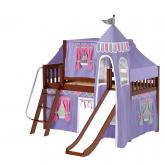Wow Low Loft by Maxtrix Kids: Chestnut, Slats, Twin, Slide, 56-Purple / Hot Pink / Gray