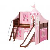 Wow Low Loft by Maxtrix Kids: Chestnut, Curved, Twin, Slide, 64-Hot Pink / Soft Pink / White