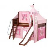 Wow Low Loft by Maxtrix Kids: Chestnut, Panel, Twin, Slide, 64-Hot Pink / Soft Pink / White