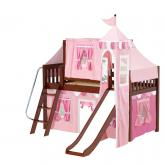 Wow Low Loft by Maxtrix Kids: Chestnut, Slats, Twin, Slide, 64-Hot Pink / Soft Pink / White
