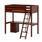 Knockout 2 High Study Loft by Maxtrix Kids: Twin, Chestnut, Panel, Desk, 1 Drawer