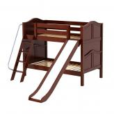 Laugh Low Bunk Bed by Maxtrix Kids: Chestnut, Curved, Twin, Slide