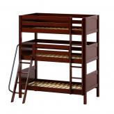 Moly Triple Bunk Bed by Maxtrix Kids: Chestnut, Curved, Twin