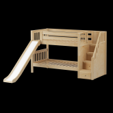 Sniggle Low Bunk Bed by Maxtrix Kids: Natural, Slats, Twin, Stairs, Slide