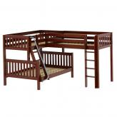 Trinity CS Med High Corner Loft Bunk by Maxtrix Kids: Chestnut, Slat, Full/Twin/Twin