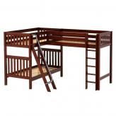 Trio CS High Corner Loft Bunk by Maxtrix Kids: Chestnut, Slat, Twin