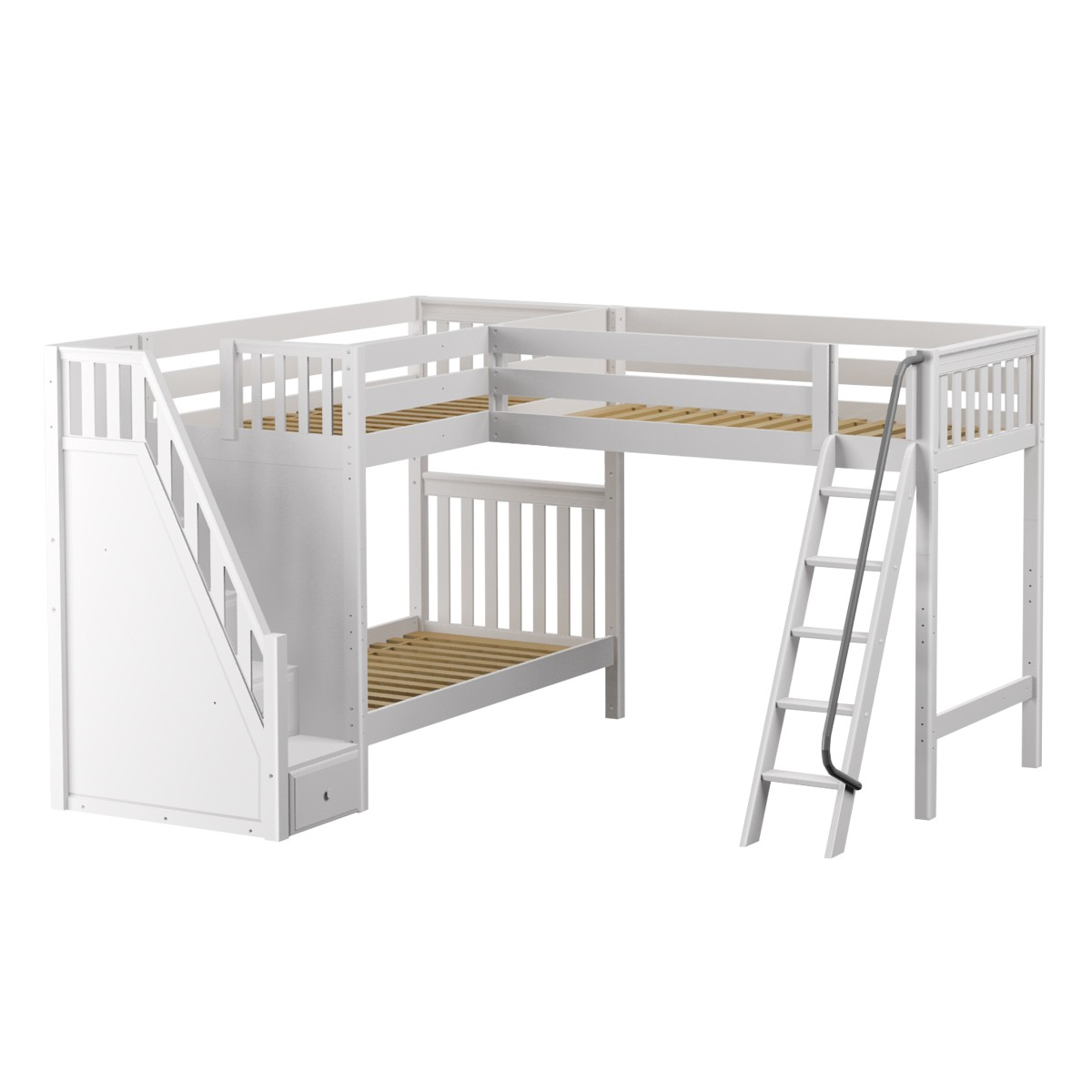 Picture of: Trey Ws High Corner Loft Bunk By Maxtrix Kids White Slat Stairs Twin