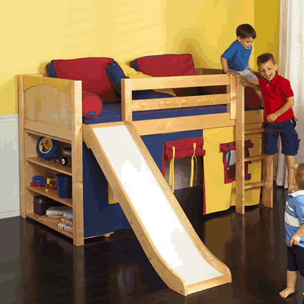 Play Fort Low Loft Bed W Slide By Maxtrix Kids Blue Red Yellow On
