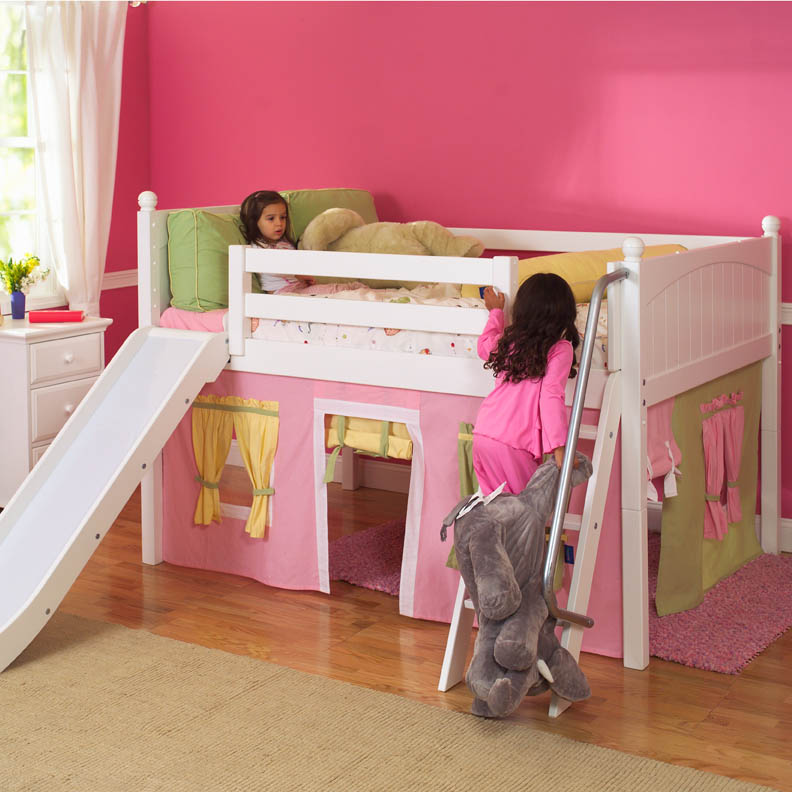 Playhouse Low Loft Bed W Slide By Maxtrix Kids Pink Yellow Green