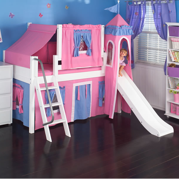 Hot Pink Princess Castle Bed With Slide By Maxtrix Kids 370