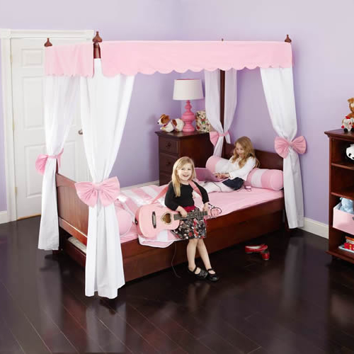 Adorable Full Kids Bedroom Set For Girl Playful Room Huz: Princess Canopy Bed In Pink And White By Maxtrix Kids (260.2