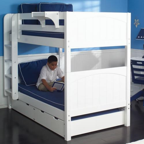 Get It Med Bunk Bed by Maxtrix Kids: White, Panel, Twin