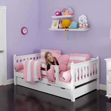 white day bed with safety rail by maxtrix kids 240 15086 | daybed pink white