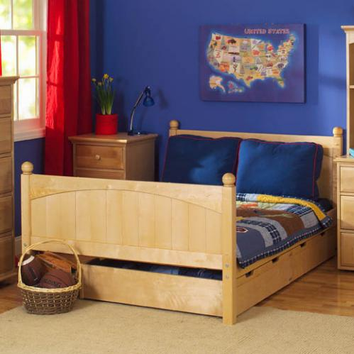 Traditional Kids' Bed in Natural Wood by Maxtrix Kids Bed (shown w/ storage drawers) (225)