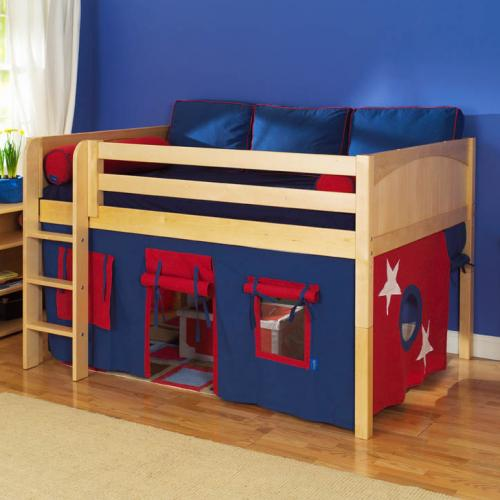 Play Fort LOW Loft Bed by Maxtrix Kids (blue/red on natural) (300.1)