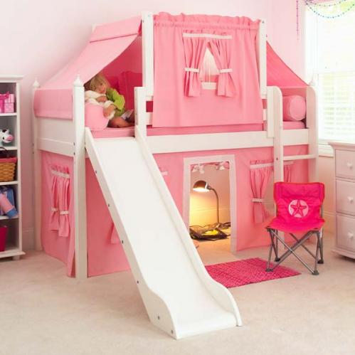 pink white loft beds for stairs | 2- Story Playhouse LOW Loft Bed w/ Slide by Maxtrix Kids ...