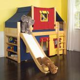 2-Story Play Fort LOW Loft Bed w/ Slide by Maxtrix Kids (blue/red/yellow on natural) (320.2)