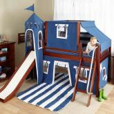 Navy Blue Castle Bed with Slide by Maxtrix Kids (370)