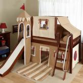 Boys Castle Bed with Slide by Maxtrix Kids (khaki/red) (370)