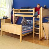 Twin Over Full L-Shaped Bunk Bed by Maxtrix Kids (natural wood) (820)