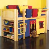 Play Fort LOW Loft Bed by Maxtrix Kids (blue/red/yellow on natural) (300.1)