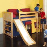 Play Fort LOW Loft Bed w/ Slide by Maxtrix Kids (blue/red/yellow on natural) (320.1)