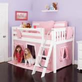 Playhouse LOW Loft Bed by Maxtrix Kids (pink/white on white) (300.1)