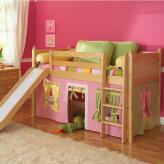 Playhouse LOW Loft Bed w/ Slide by Maxtrix Kids (pink/yellow/green on natural) (320.1)