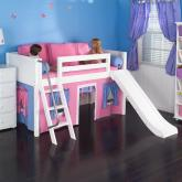 Playhouse LOW Loft Bed w/ Slide by Maxtrix Kids (hot pink/blue on white) (320.1)