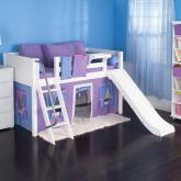Playhouse LOW Loft Bed w/ Slide by Maxtrix Kids (purple/blue on white) (320.1)