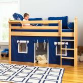 Play Fort LOW Loft Bed by Maxtrix Kids (blue/white on natural) (300.1)