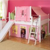 2-Story Playhouse LOW Loft Bed w/ Slide by Maxtrix Kids (p/g/y bottom, pink top) (320.2)