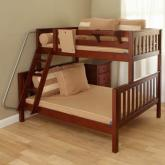 Maxtrix Kids Twin over Full Bunk Bed in Chestnut (830)
