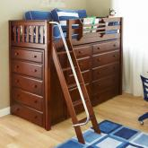 Maxtrix Kids HIGH Loft Bed w/ Storage Dressers (Chestnut) (660)
