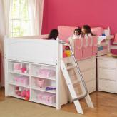 Girl's Storage Bed with Desk by Maxtrix Kids (white) (606)
