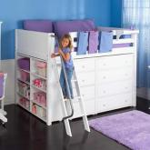 Maxtrix Kids Mid Loft Storage Bed for Girls (white) (634)