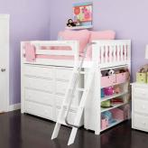 MID Loft Storage Bed in White by Maxtrix Kids (634)