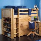 Maxtrix Kids Mid Loft Storage Bed w/ Desk (natural) (636)