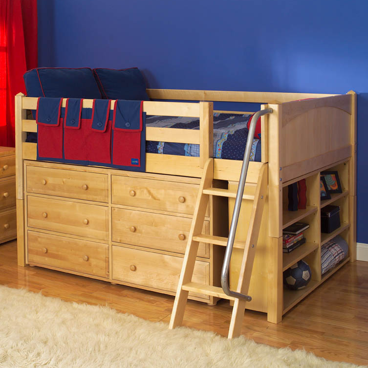 Maxtrix Kids Low Loft Bed W Built In Dresser Bookcase Natural 604