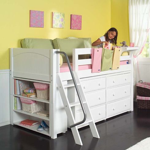 Maxtrix Kids Low Loft Bed W Built In Dresser Bookcase White 604