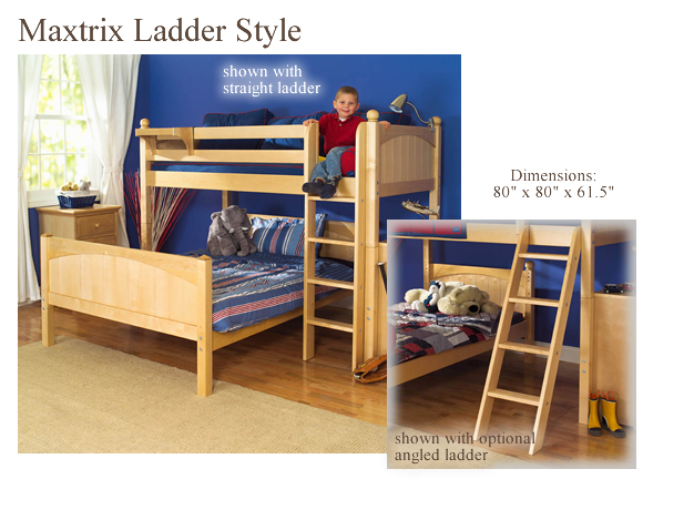 Twin Over Full L Shaped Bunk Bed By Maxtrix Kids Natural Wood 820