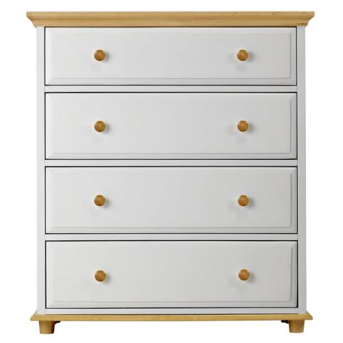 4 Drawer Dresser w/ Crown and Base in White and Natural