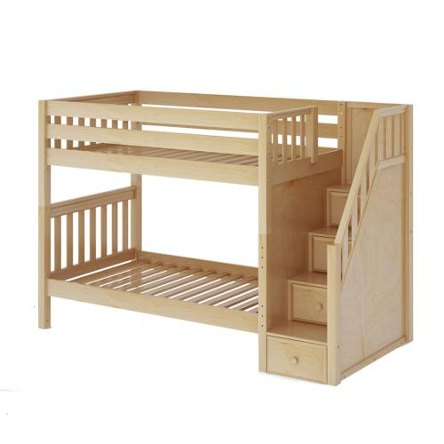 Stellar Med Bunk Bed by Maxtrix Kids: Natural, Slats, Twin, Stairs