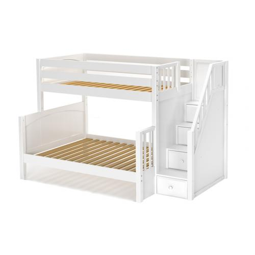 Twin / Full Bunk Bed with Staircase in White with Panel Ends (845)