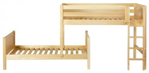 Mish Parallel Bunk Bed by Maxtrix Kids: Natural, Panel, Twin, 3Q Frt View